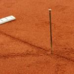 Tennislinierung Neuverlegung Tennisplatz - Eckpunkte vermessen und markieren