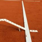 Tennislinierung Neuverlegung - Spannlinien mit verstärkten Enden, Anker und Bodenhülse